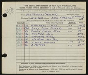 Entry card for Chandler, Dor for the 1952 May Show.