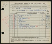 Entry card for Cochran, Ruth for the 1952 May Show.