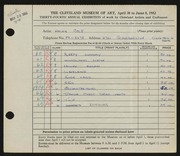 Entry card for Cole, Helen Champney for the 1952 May Show.