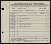 Entry card for Coombe, George B. for the 1952 May Show.