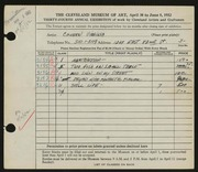Entry card for Cowden, Virginia for the 1952 May Show.