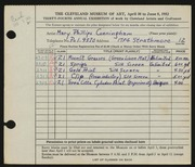 Entry card for Cunningham, Mary Phillips for the 1952 May Show.