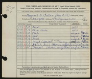 Entry card for Cutler, Margaret Scovel for the 1952 May Show.