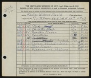 Entry card for David, Adeline Wilkens for the 1952 May Show.