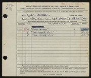 Entry card for De Marco, Marco for the 1952 May Show.