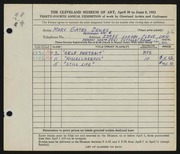 Entry card for Dewey, Mary Gates for the 1952 May Show.