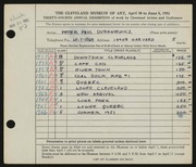 Entry card for Dubaniewicz, Peter Paul for the 1952 May Show.