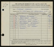 Entry card for Farris, Corrine for the 1952 May Show.