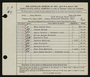 Entry card for Ferris, Jean B. for the 1952 May Show.