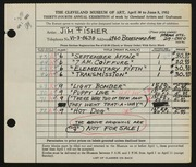 Entry card for Fisher, James Barak for the 1952 May Show.