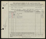 Entry card for Fox, Freda L. for the 1952 May Show.