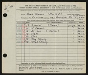 Entry card for Francis, Anna for the 1952 May Show.