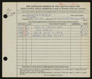 Entry card for Fritsch, Kenneth Harold for the 1952 May Show.