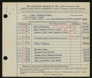 Entry card for Gaertner, Carl Frederick for the 1952 May Show.