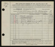 Entry card for Godlewski, Marion for the 1952 May Show.