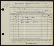 Entry card for Goslee, Marjorie Eileen Evans for the 1952 May Show.