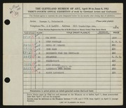 Entry card for Gutschmidt, Normal Paul for the 1952 May Show.
