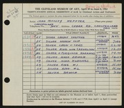 Entry card for Heffter, Jean Riddell Moodey for the 1952 May Show.