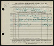Entry card for Henninger, Virginia Sutherland for the 1952 May Show.