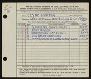 Entry card for Horton, Clyde E. for the 1952 May Show.