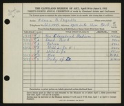 Entry card for Ingalls, Eileen B. for the 1952 May Show.