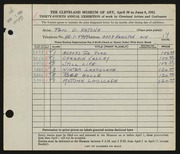 Entry card for Katona, Paul for the 1952 May Show.