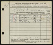 Entry card for Kavanagh, Jean for the 1952 May Show.