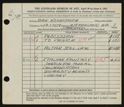 Entry card for Kempsmith, Joan for the 1952 May Show.