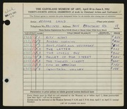 Entry card for Land, Jerome for the 1952 May Show.