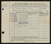 Entry card for Larcey, William J. for the 1952 May Show.