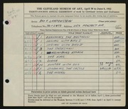 Entry card for Lichtenstein, Roy  for the 1952 May Show.