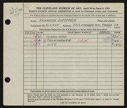 Entry card for Lipstreu, Kenneth J. for the 1952 May Show.