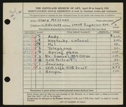 Entry card for McClean, Clara for the 1952 May Show.