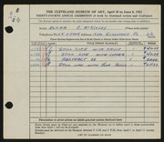 Entry card for McKinley, Elvira C. for the 1952 May Show.