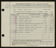 Entry card for Manzler, Lorna for the 1952 May Show.