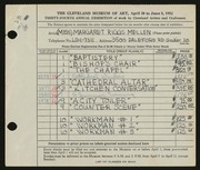 Entry card for Mellen, Margaret Riggs for the 1952 May Show.