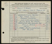 Entry card for Meyers, Francis J. for the 1952 May Show.