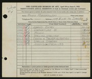 Entry card for Mieczkowski, Ed for the 1952 May Show.