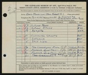 Entry card for Morrison, Doris C. for the 1952 May Show.