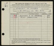 Entry card for Moyer, Robert M. for the 1952 May Show.