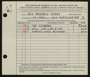 Entry card for Myers, Jack Frederick for the 1952 May Show.