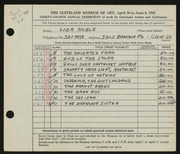 Entry card for Noble, Liza for the 1952 May Show.