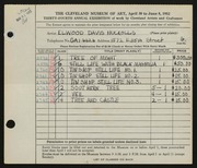 Entry card for Nuckolls, Elwood Davis for the 1952 May Show.
