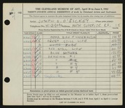 Entry card for O'Sickey, Joseph B. for the 1952 May Show.
