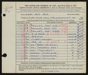 Entry card for Peck, Miriam Smith for the 1952 May Show.