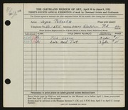 Entry card for Peterka, Joyce S. for the 1952 May Show.