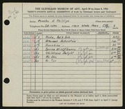 Entry card for Phillips, Charles H. for the 1952 May Show.