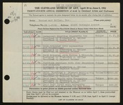 Entry card for Potter and Mellen , and Miller, Frederick Anson; Foster, Doris Collin; Weiser, Raymond T.; Corea, Sam for the 1952 May Show.
