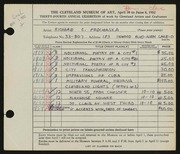 Entry card for Prochaska, Richard C. for the 1952 May Show.