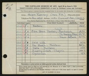 Entry card for Ranney, Helen Stecher for the 1952 May Show.